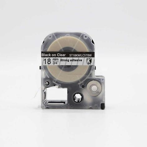Картридж LC-5TBW  для Epson LabelWorks LW-300, LW-400(лента 18mmx8m),черный на прозрачном, фото 2