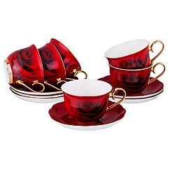 Чайный набор РОЗА красная на 6 персон, 12 пр., 270 мл/фарфор