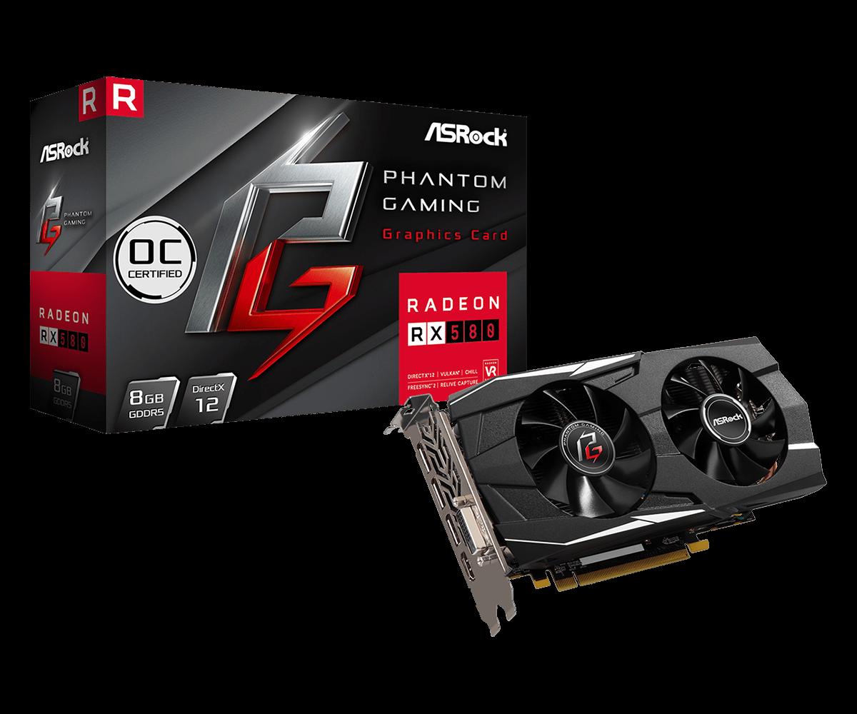 Видеокарта ASRock PHANTOM GAMING D RADEON RX580 8G ОC/H, 8GB GDDR5, 256 bit, 3xDisplayPort, 1xHDMI, 1xDVI, PCI