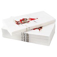 Салфетка бумажная, ВИНТЕР 2020 ,орнамент «Санта Клаус» белый/красный 38x38 см ИКЕА, IKEA