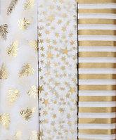 Тишью с золотым принтом, 50х70 см, 10 листов Полоска СЕРЕБРО