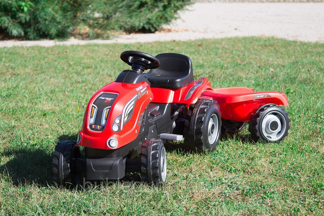 Детский педальный трактор Smoby Farmer XL 710108 с прицепом - фото 1