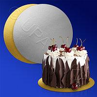 Kazakhstan Подставка п/торт d22см золотистая/серебристая 100шт/уп картон ламинированный фольгой