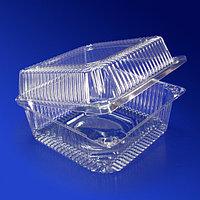 Kazakhstan Контейнер пластиковый 1450мл PET прозрачный с нераздельной крышкой 13,9х13,9х7,5см 600 шт/кор ФП-15