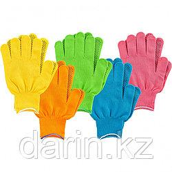 Перчатки в наборе, цвета: зеленый, розовая фуксия, желтый, синий, оранжевый, ПВХ точка, L, Россия Palisad