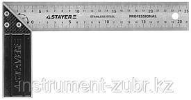 """Угольник STAYER """"PROFI"""" столярный, гравированная шкала, нержавеющее полотно 37мм, 250мм"""