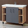 Комплект Тумба для ванной с раковиной и зеркалом «Акваль Лофт» 100 см. черный матовый (Умывальник Миранда 100), фото 2