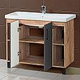 Комплект Тумба для ванной с раковиной и зеркалом «Акваль Лофт» 100 см. черный матовый (Умывальник Миранда 100), фото 3