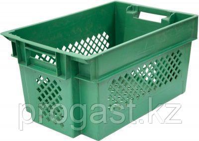 Тара Е3 перфорированный зеленый  600*400*300, фото 2