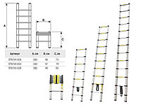 Лестница телескопическая, односекционная, алюминиевая, 9 ступ., 260 см