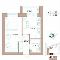 1 комнатная квартира 35.27 м²
