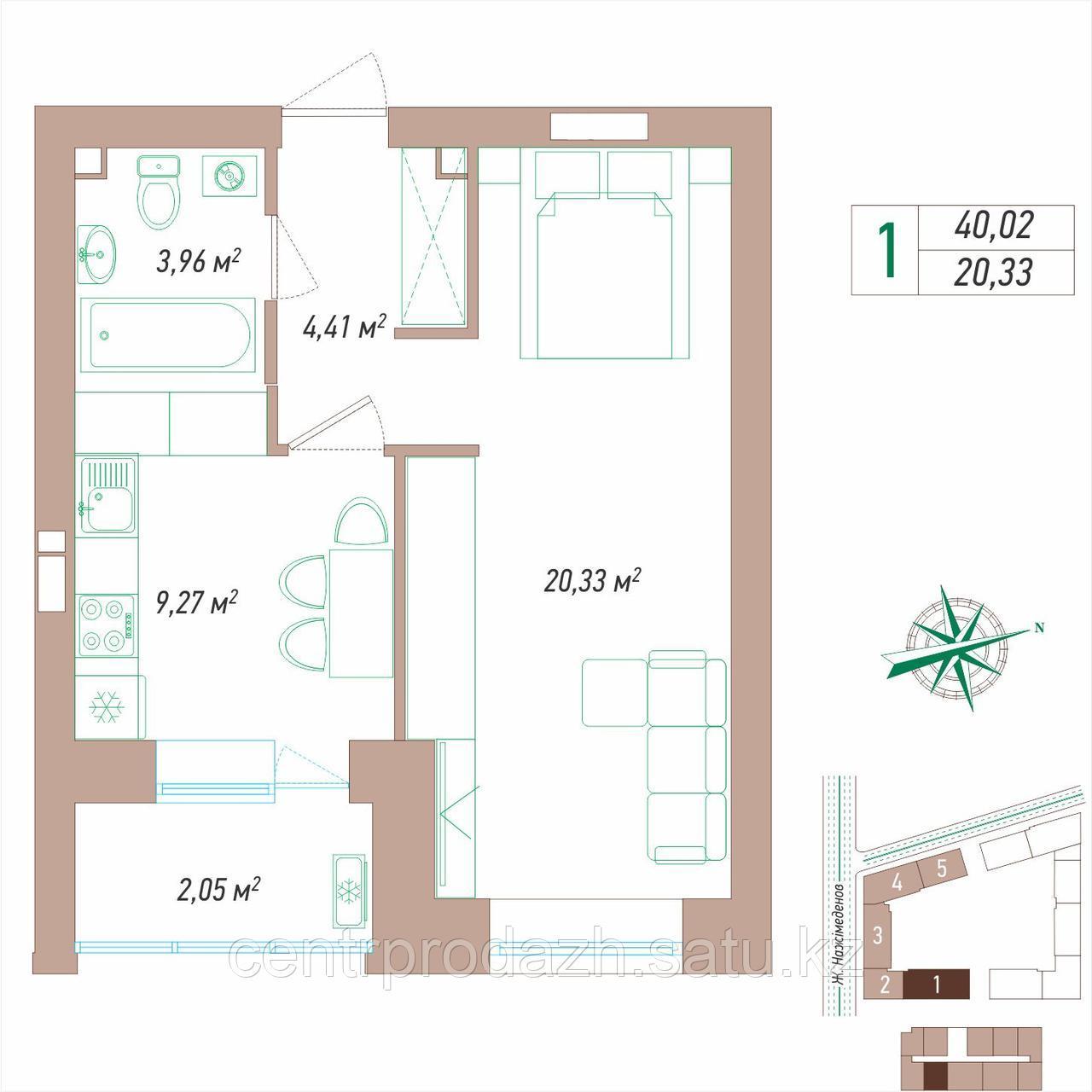1 комнатная квартира 40.02 м²