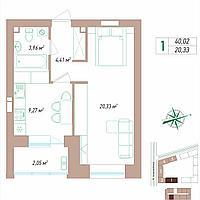 1 комнатная квартира 40.02 м², фото 1