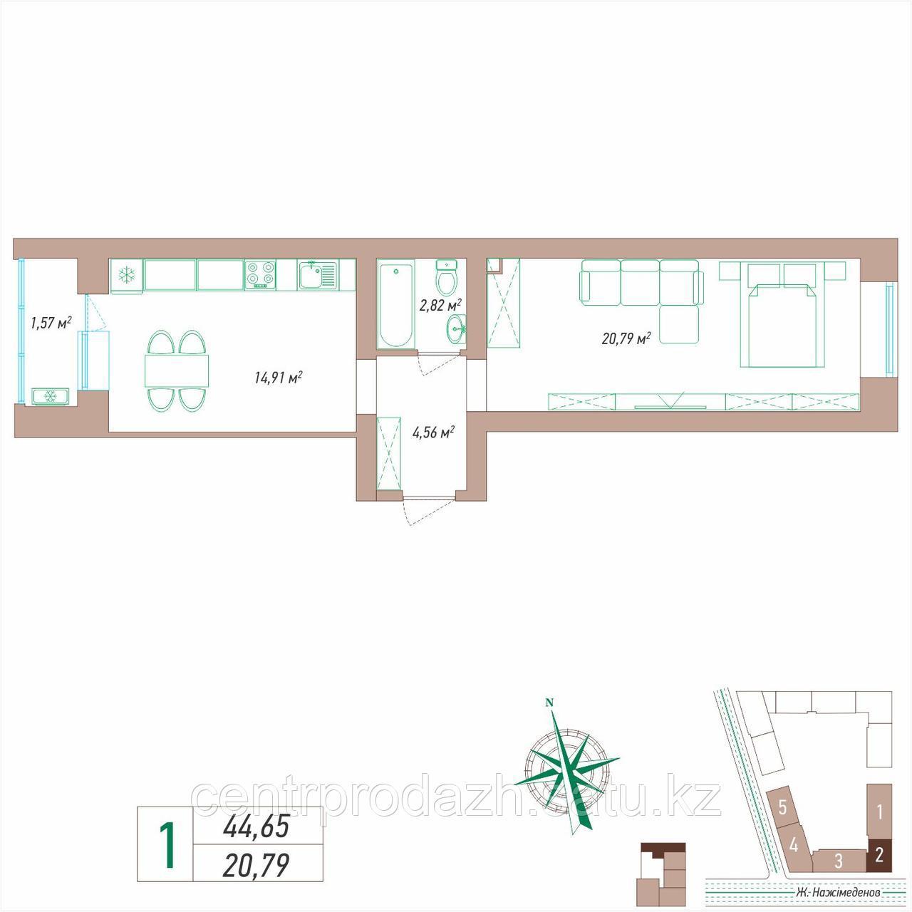 1 комнатная квартира 44.65 м²