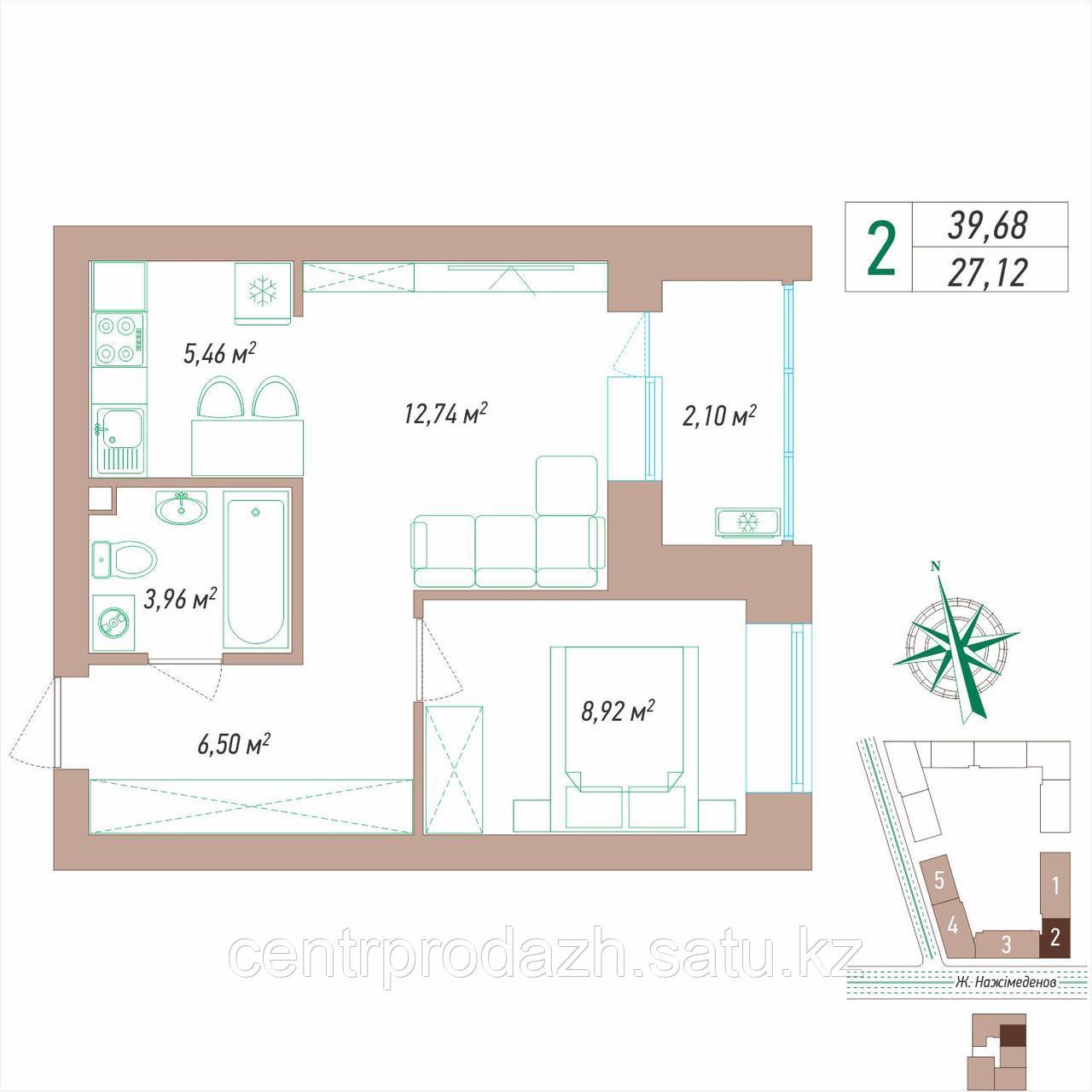 2 комнатная квартира 39.68 м²