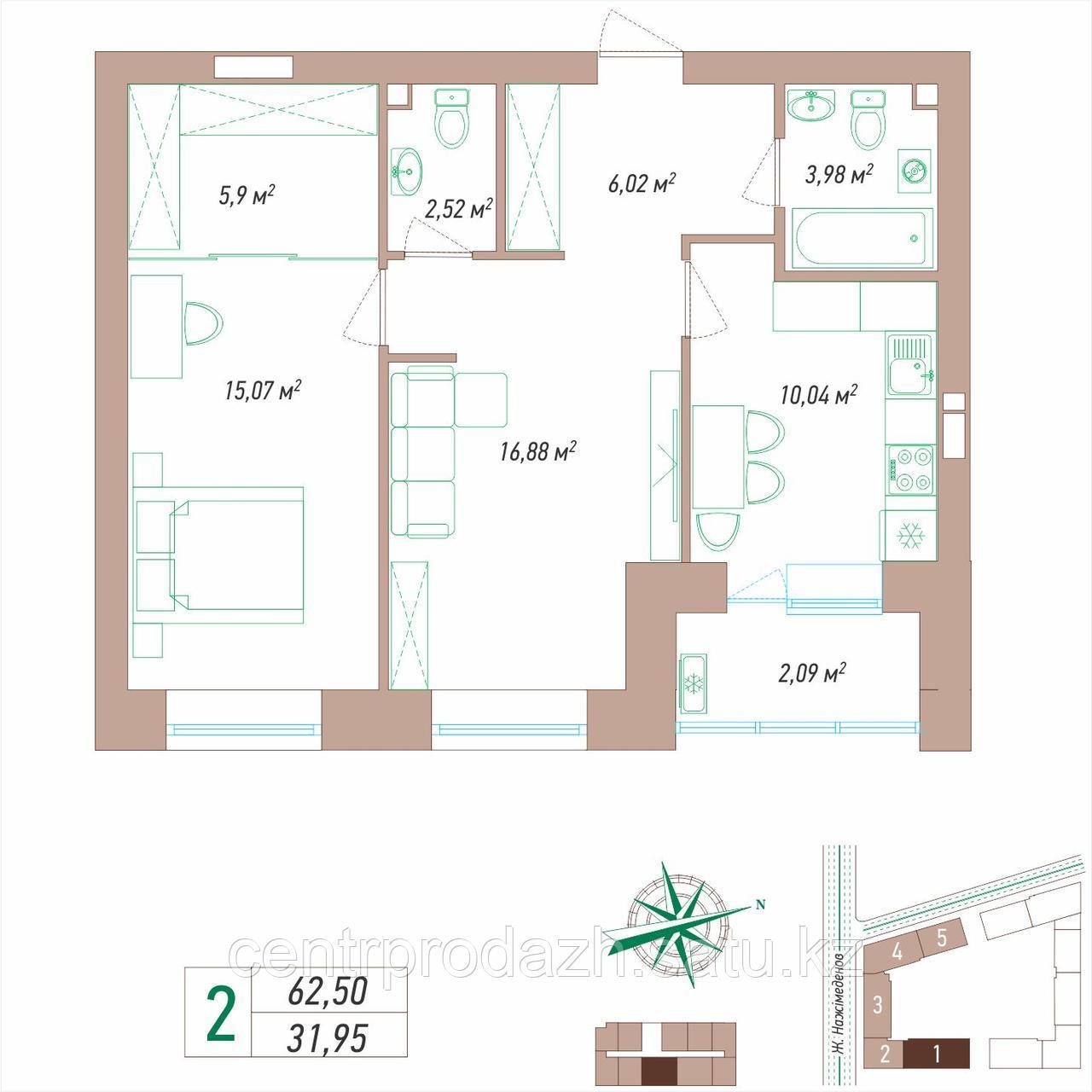 2 комнатная квартира 62.5 м²