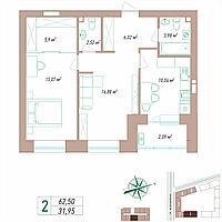 2 комнатная квартира 62.5 м², фото 1