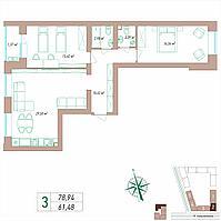3 комнатная квартира 78.94 м², фото 1