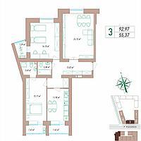 3 комнатная квартира 92.97 м², фото 1