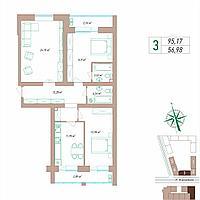 3 комнатная квартира 95.17 м², фото 1