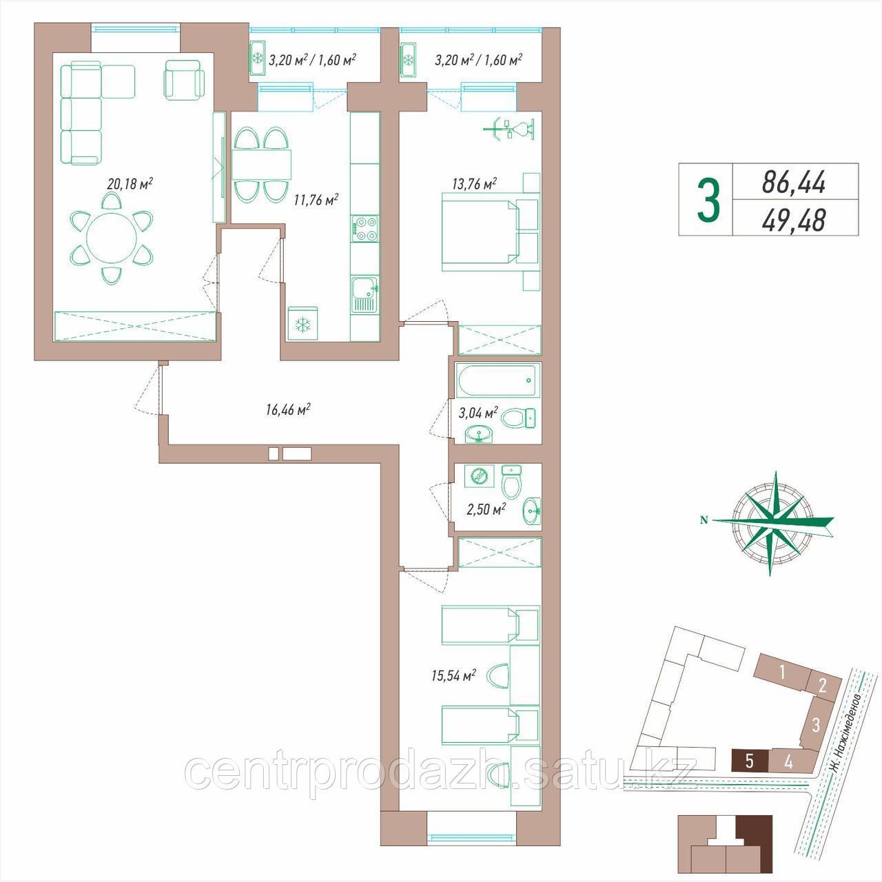 3 комнатная квартира 86.44 м²