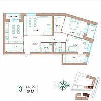 3 комнатная квартира 111.55 м²