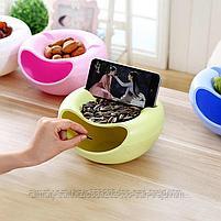Двойная тарелка для семечек и подставка для телефона(зеленый), фото 4