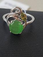 Кольцо с кошачьим глазом , фианит, оливка, размер 16,5
