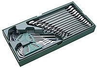 09906 SATA Набор ключей комбинированных 8-19+шестигранных1,5-10+Torx T10-T50,  в ложементе 30 пр.