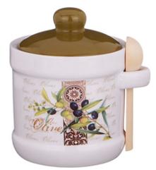 """Сахарница """"оливки"""" 13*11*12 см. с ложкой-358-1025"""