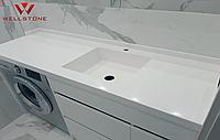 Столешница акриловый камень белая в ванную комнату
