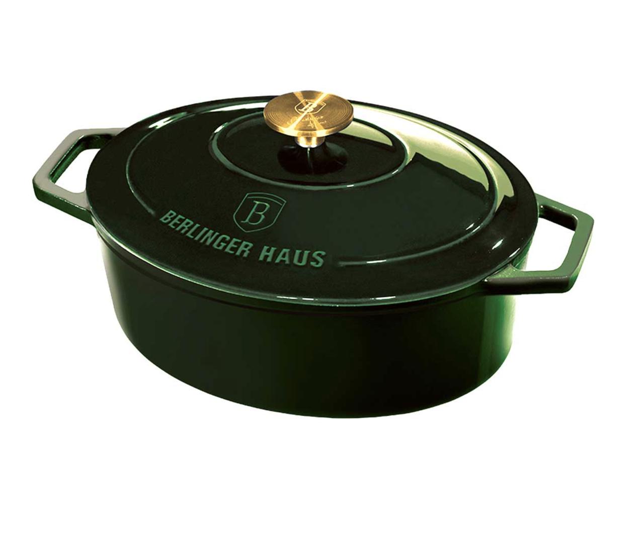 Чугунная кастрюля с крышкой с эмалированным покрытием Berlinger Haus Emerald Collection