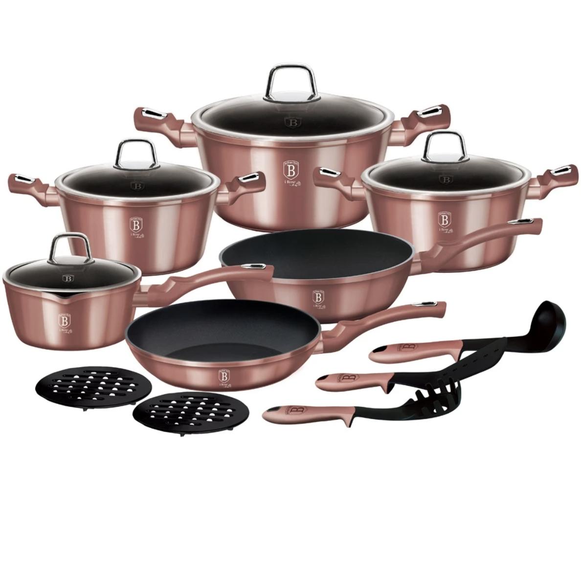 Набор посуды Berlinger Haus Metallic Line Rosegold Edition 15 предметов
