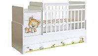 Кроватка-трансформер детская Фея 1100 Медвежонок, белый