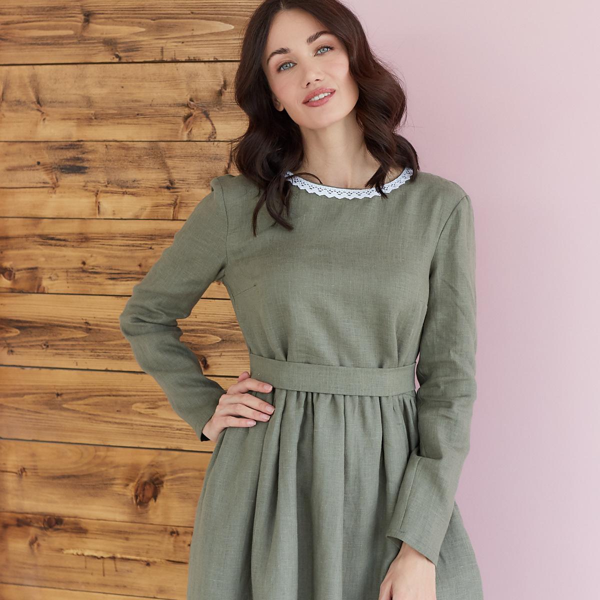 Платье женское льняное с хлопковым кружевом оливкового цвета - фото 3