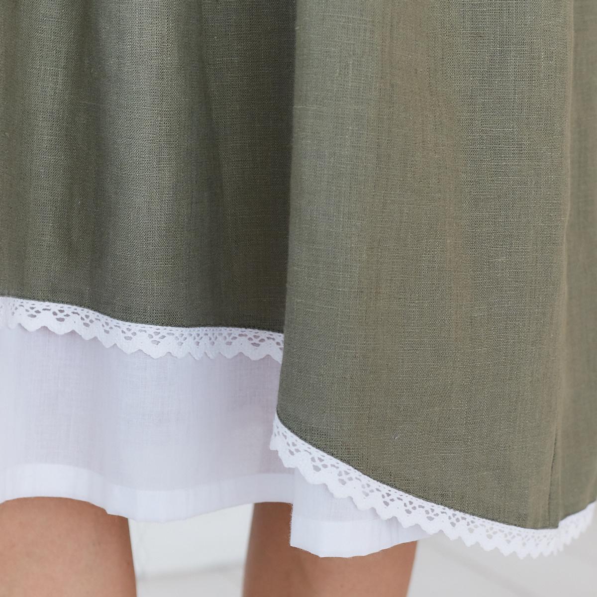 Платье женское льняное с хлопковым кружевом оливкового цвета - фото 6