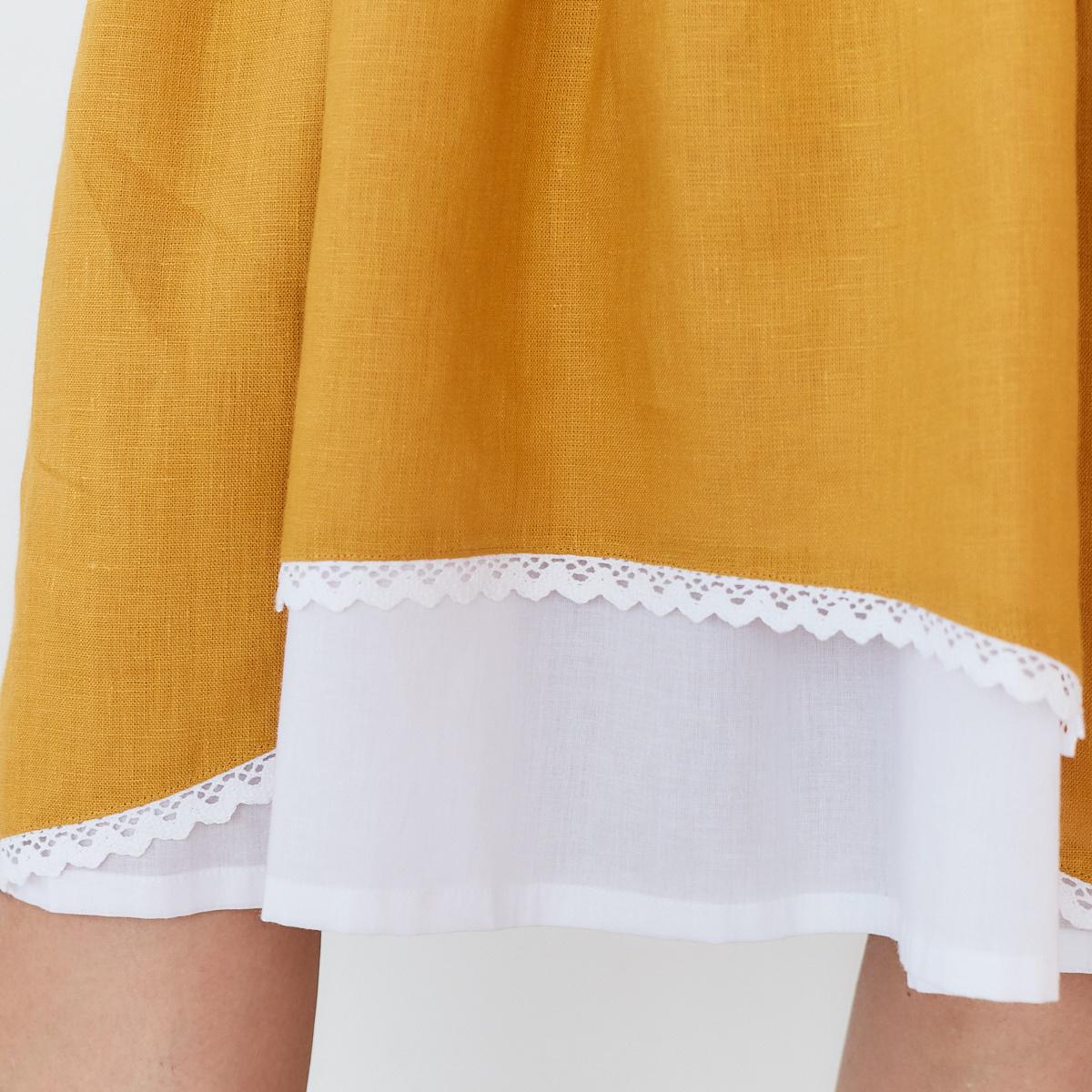 Платье женское льняное с хлопковым кружевом горчичного цвета - фото 5
