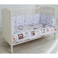 Комплект в кроватку сатин 6 предметов, универсальный PITUSO ПЭЧВОРК подушки