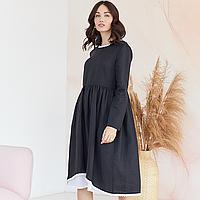 Платье женское льняное с хлопковым кружевом черного цвета