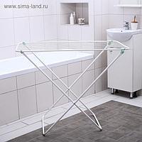 Сушилка для белья напольная складная, рабочая длина 10 м, цвет белый