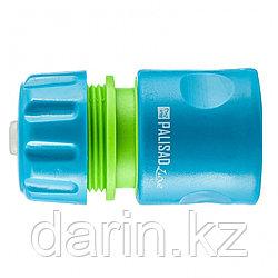 Соединитель пластмассовый, быстросъемный для шланга 1/2, аквастоп, однокомпонентный Palisad Luxe