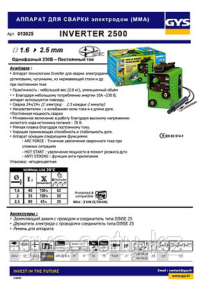 АППАРАТ ДЛЯ СВАРКИ электродом (MMA) INVERTER 2500, фото 2
