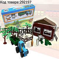 Набор игрушечный для детей Ферма - Синий трактор прицеп с  домашними животными и декорациями фермы в комплекте