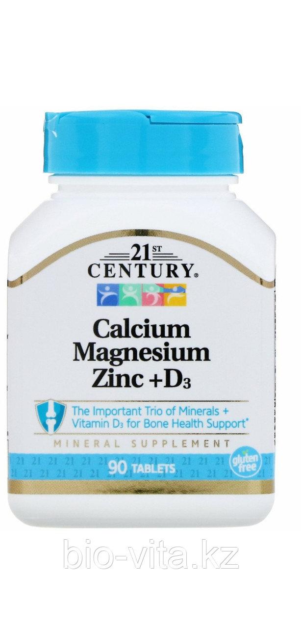 Кальций, Магний, цинк, Д3 90 таблеток. 21 century