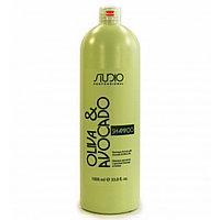 Шампунь увлажняющий 1л для волос с маслами авокадо и оливы линии Kapous Studio Professional