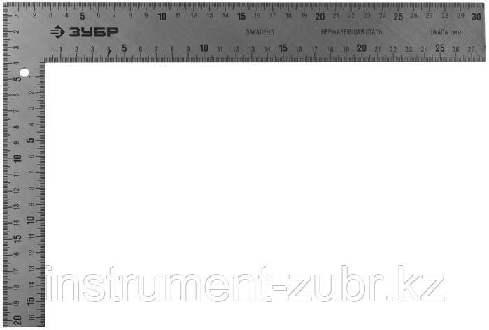 """Угольник ЗУБР """"ЭКСПЕРТ"""" плотницкий цельнометаллический, гравированная шкала (шаг 1мм), 300х200мм, фото 2"""