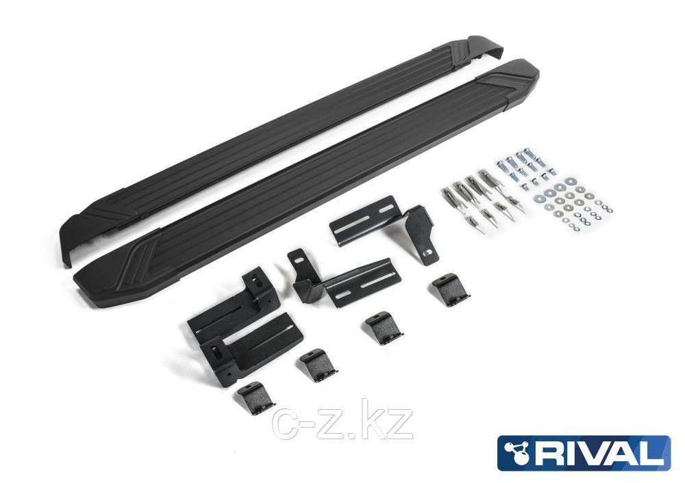 """Порог-площадка """"Black"""" + комплект крепежа, RIVAL, Toyota Rav 4 2013-2019"""