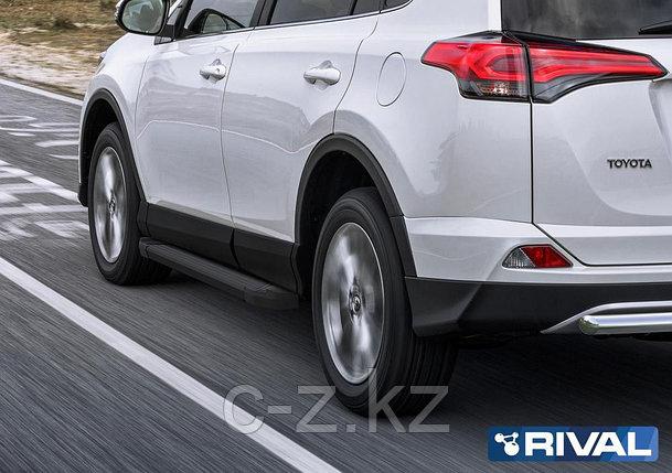 """Порог-площадка """"Black"""" + комплект крепежа, RIVAL, Toyota Rav 4 2013-2019, фото 2"""