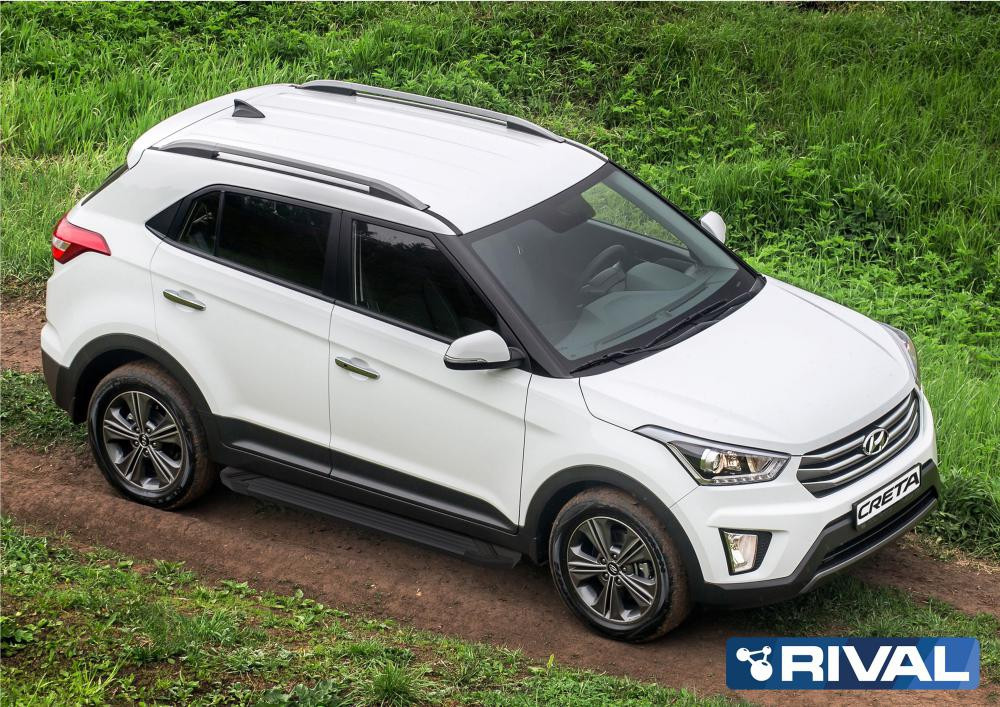 "Порог-площадка ""Black"" + комплект крепежа, RIVAL, Hyundai Creta 2016-2020"
