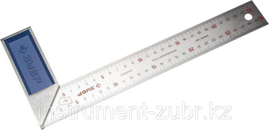 Усиленный столярный угольник ЗУБР Профессионал 300 мм с нержавеющим полотном, фото 2